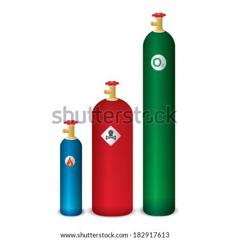 Gas cylinder , danger gas , oxygen tank on white background. vector illustration - stock vector