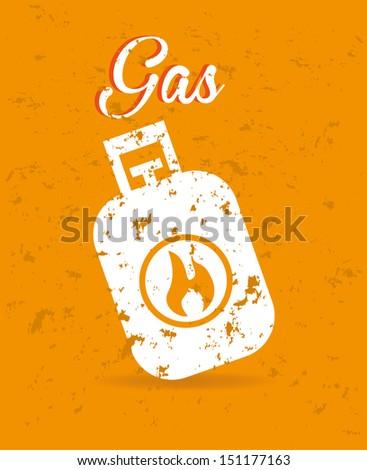 gas design over orange background vector illustration - stock vector
