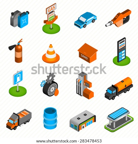 Gas diesel station isometric icons collection of fuel  pump nozzle and fire extinguisher abstract isolated vector illustration - stock vector