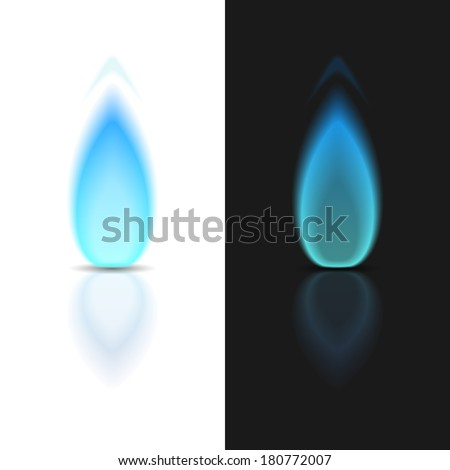 Gas flame on dark and white backgrounds, vector eps10 illustration - stock vector