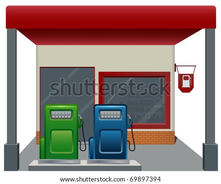 Gas / Fuel Station with two pump, cartoon vector icon - stock vector