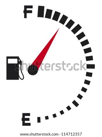 gas gauge (gas tank, gas gage, fuel gauge) - stock vector