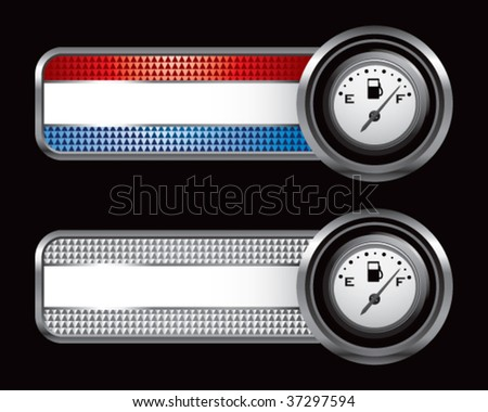 gas gauge on specialized banners - stock vector
