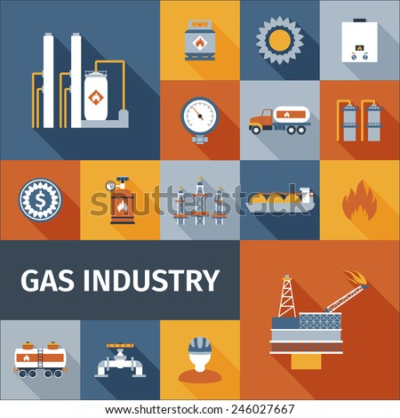 Gas industry renewable eco fuel icon flat set isolated vector illustration - stock vector