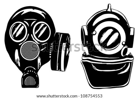 Gas mask and deep diver's helmet, vector illustration - stock vector