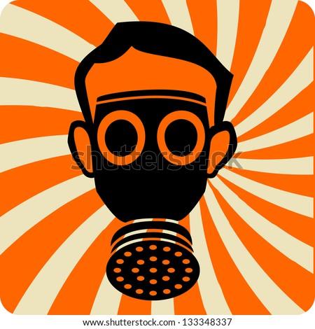 gas mask illustration - stock vector