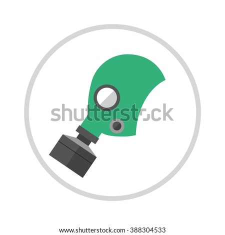 Gas mask isolated render on a white background. Cartoon of classic army gas mask. Military gas mask filter. Gas mask . Gas mask protection. Gas mask danger . - stock vector