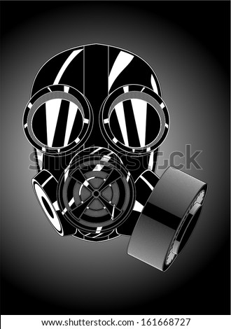 gas mask on a gradient background - stock vector