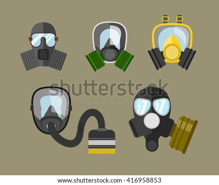 Gas mask vector set. Gas mask for firefighters and military. Respirator mask. Gasmask with filter. Different kinds of gas mask illustration. - stock vector
