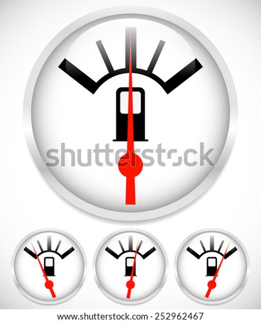 Gas meter, fuel gauge with red needle, set at 4 levels. Tanking, gasoline, fossil fuel concepts. - stock vector