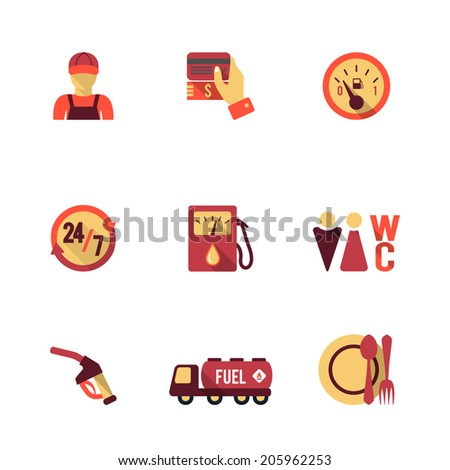 Gas petrol fuel pay at the pump 24h availability station icons set flat isolated abstract vector illustration - stock vector