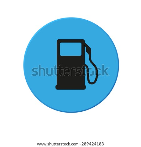 Gas pump icon. Blue round button on  white background - stock vector