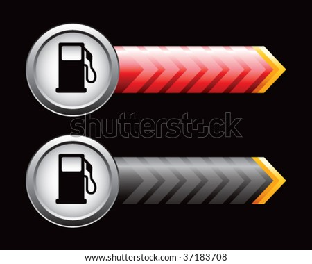 gas pump on red and black arrows - stock vector