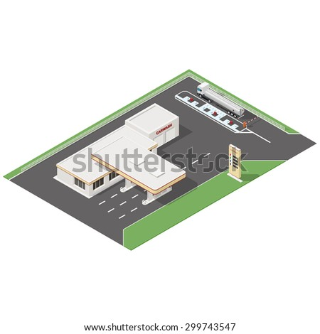 Gas station and car wash service isometric icons set vector graphic illustration - stock vector