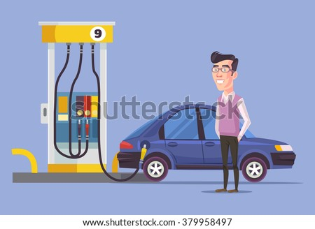 Gas station and man. Vector flat illustration - stock vector