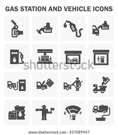 Gas station and vehicle icons sets. - stock vector