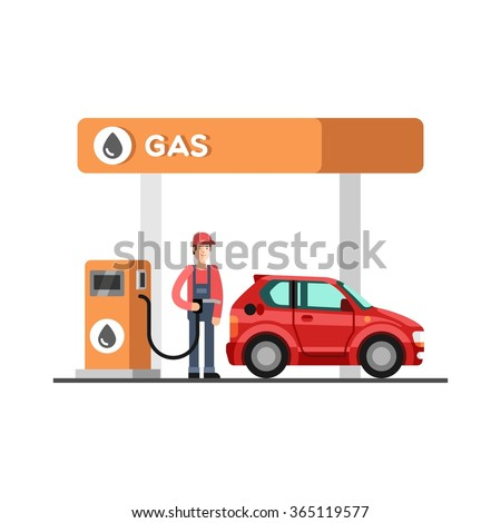 Gas station. Energy. Fuel petrol station. Vector illustration. - stock vector