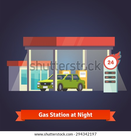 Gas station glowing at night. With store and price board. Flat vector illustration. - stock vector