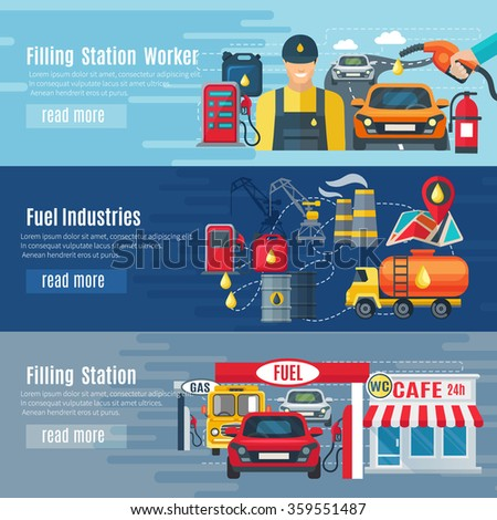 Gas station horizontal banners set with fuel industries symbols flat isolated vector illustration  - stock vector
