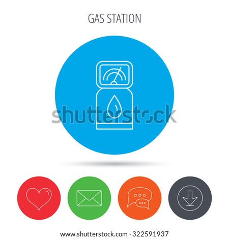 Gas station icon. Petrol fuel pump sign. Mail, download and speech bubble buttons. Like symbol. Vector - stock vector