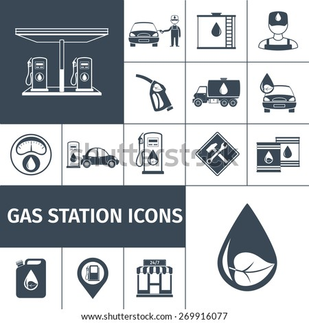Gas station icons black set with petrol station fuel tank isolated vector illustration - stock vector