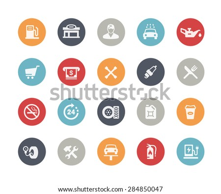 Gas Station Icons // Classics Series - stock vector