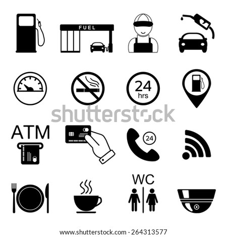 Gas station icons. Fuel isolated icons. Vector illustration - stock vector