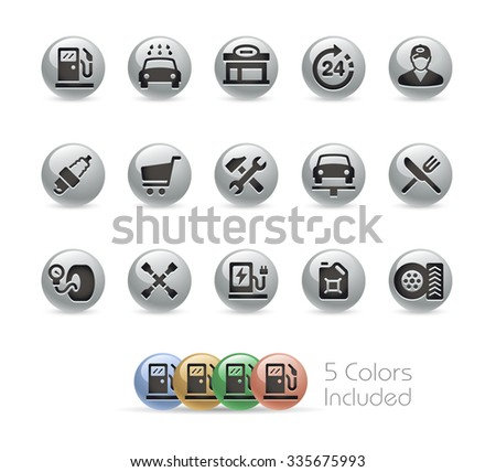 Gas Station Icons // Metal Round Series -- The vector file includes 5 color versions for each icon in different layers. - stock vector