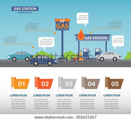 gas station infographics elements and background. Can be used for business data, web design, brochure template. one page design. vector illustration - stock vector