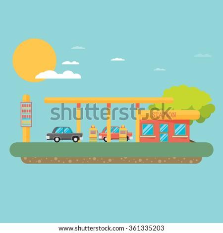Gas station vector illustration - stock vector