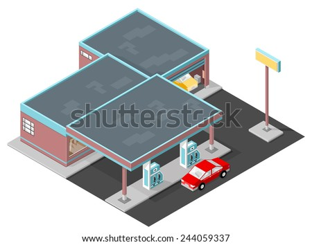Gas Station with car refueling, garage and mini mart. Gas Station - stock vector