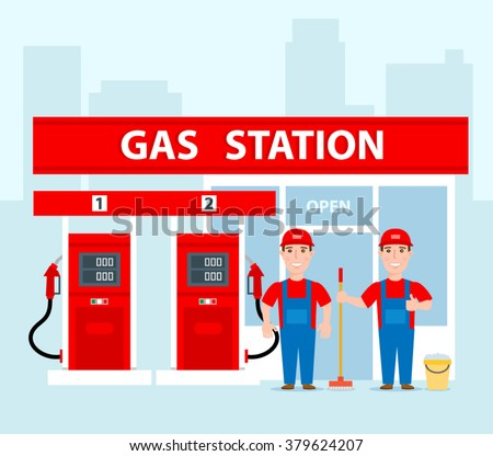 gas station workers in uniform concept illustration gas station with pumps and shop - stock vector