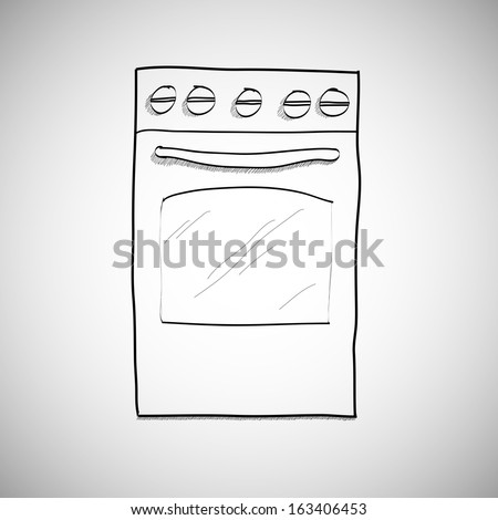 gas stove - hand drawn sketch illustration - stock vector