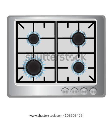 Gas stove with four burners - stock vector