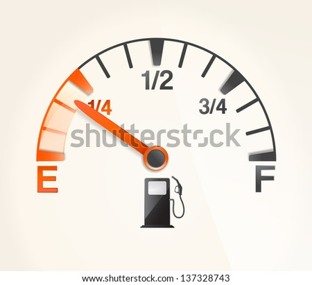gas tank with empty horizontal full signs - stock vector