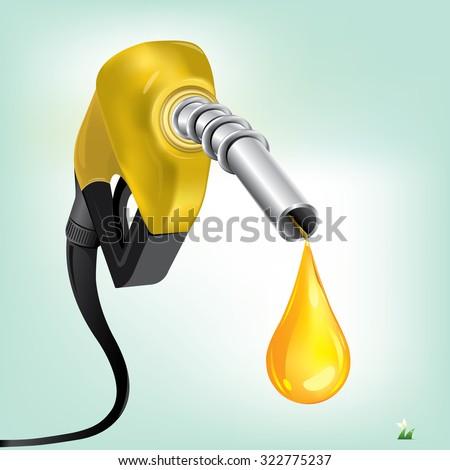 Gasoline Fuel Nozzle giving a drop - stock vector