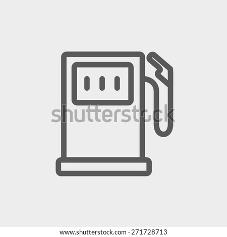 Gasoline pump icon thin line for web and mobile, modern minimalistic flat design. Vector dark grey icon on light grey background. - stock vector