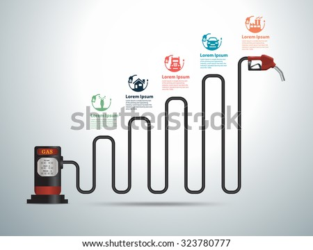 Gasoline pump nozzle gas station with business graph and chart ideas concept, Abstract infographic modern design template workflow layout, diagram, icons step up options, Vector illustration  - stock vector