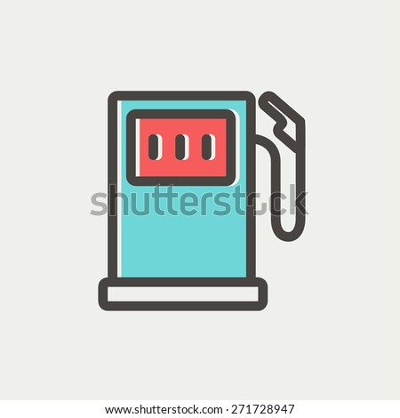 Gasoline pump thin line for web and mobile, modern minimalistic flat design. Vector icon with dark grey outline and offset colour on light grey background. - stock vector