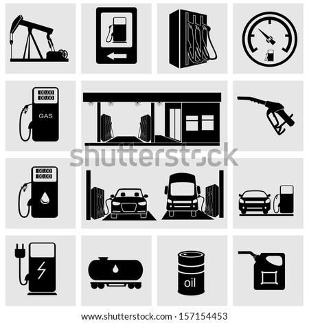 Gasoline station icons - stock vector