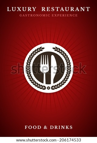 Gastronomy - Restaurant symbol, fork and knife - stock vector