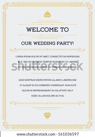 Gatsby Style Invitation in Art Deco or Nouveau Epoch 1920's Gangster Era Vector - stock vector