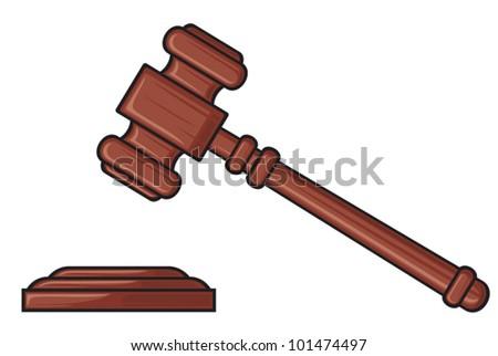 gavel - hammer of judge or auctioneer (judge gavel) - stock vector