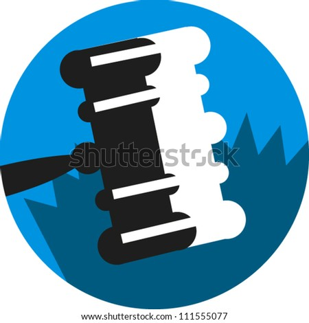 Gavel icon for legal subjects - stock vector