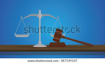 gavel with scale judge object isolated with blue background - stock vector