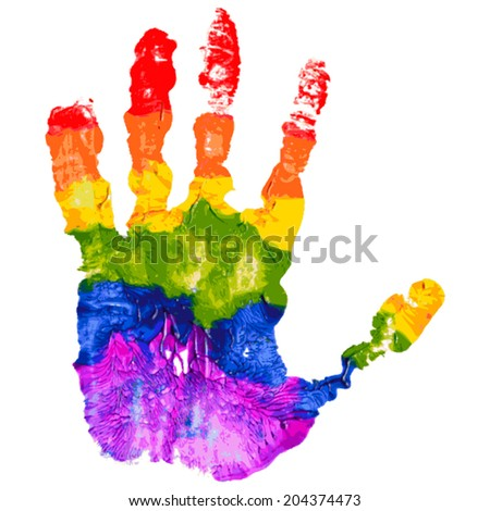 Gay and LGBT rainbow colors hand shape. Handmade. Textured, made with acrylic paint and paper. Vector. - stock vector