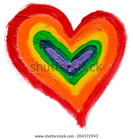 Gay and LGBT rainbow colors heart. Handmade. Textured, made with acrylic paint and canvas. Grunge. Vector. - stock vector