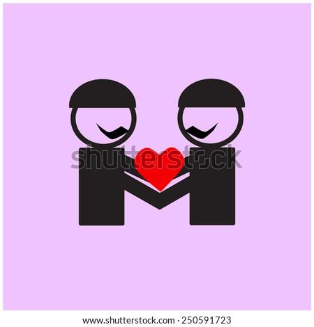 gay couple  icon - stock vector