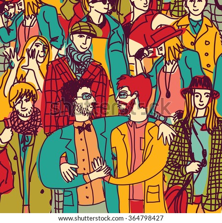 Gay couple lgbt and crowd people coming out. Color vector illustration. EPS8 - stock vector