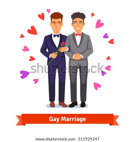 Gay couple marriage and love. Two handsome man standing in suits and holding each other arm in arm surrounded by flowers. Flat style vector illustration isolated on white background. - stock vector